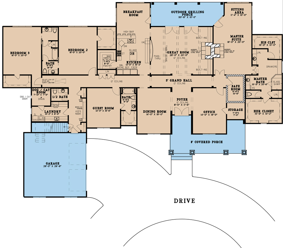 House Plan MEN 5195 Main Floor
