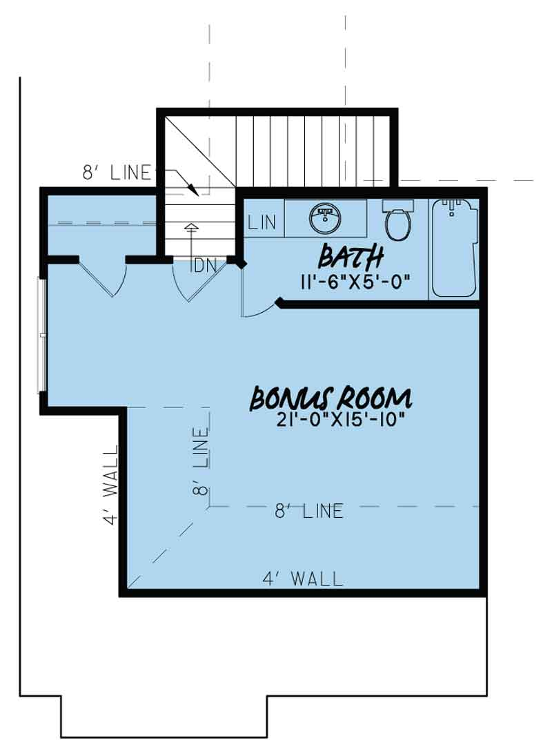 House Plan MEN 5085 Upper Floor/Bonus Room